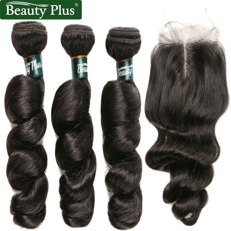 Loose Wave Hair 3 Bundles With Closure Brazilian Hair Weave Remy Human Hair Bundles With Lace Closure 4*4 Inch With Baby Hair BP