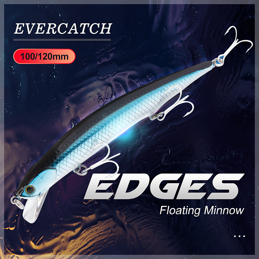 Evercatch Edges 15g/120mm Jerkbait Floating Wobblers Topwater Minnow Rattling Buzz Hard Bait For Bass Pike Catfish Fishing Lure