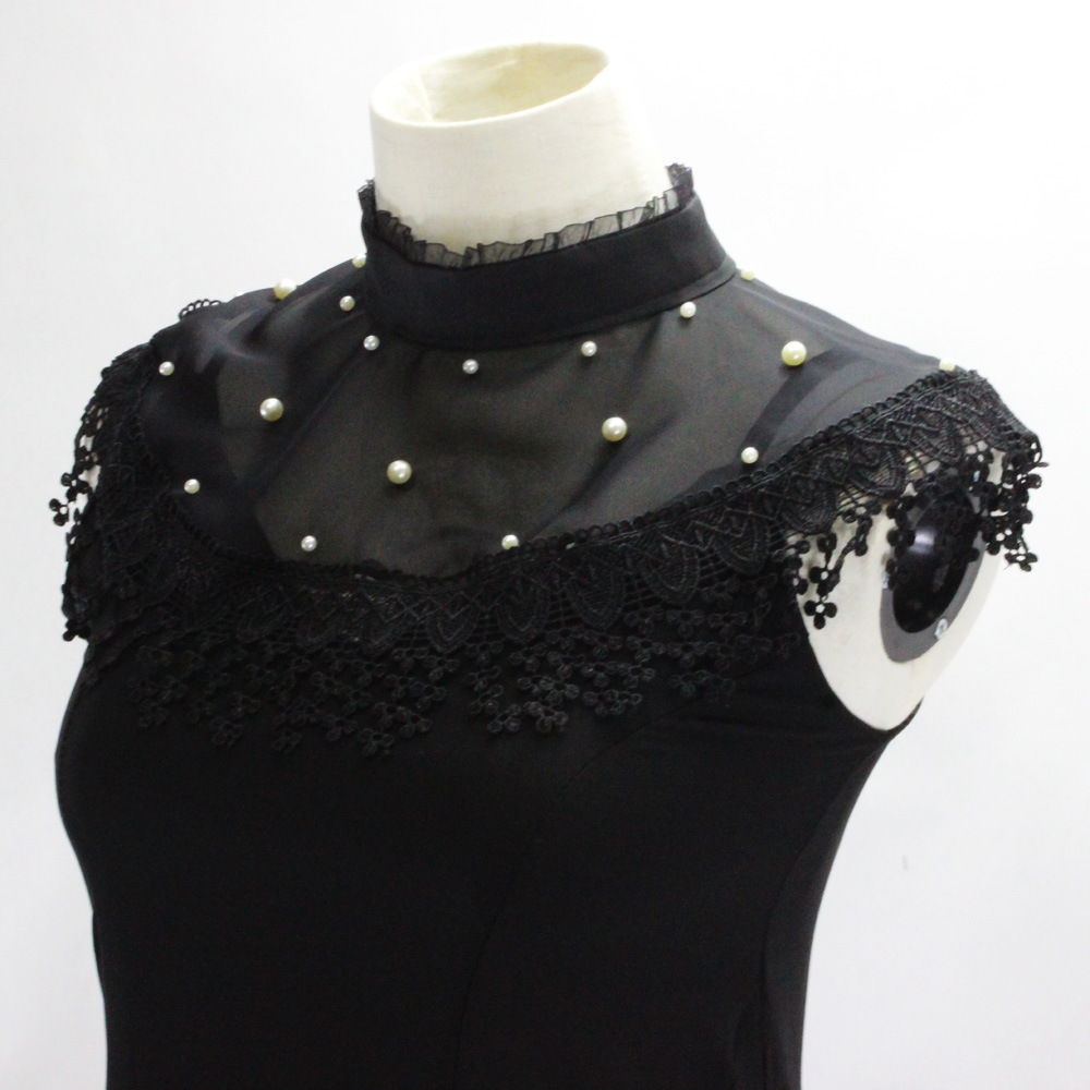 Fungus Edge Pleated Erect Lead Chiffon Nail Pearl Dickie Sadness And Joy Camisole Decoration Fake Collar Detachable