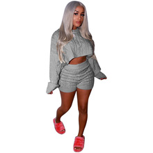 2021 Women Two Piece Pants Set Loose Kint Ribbed Sweater  + Short Pants Tracksuit Sportwear Clothes For Women   Outfit