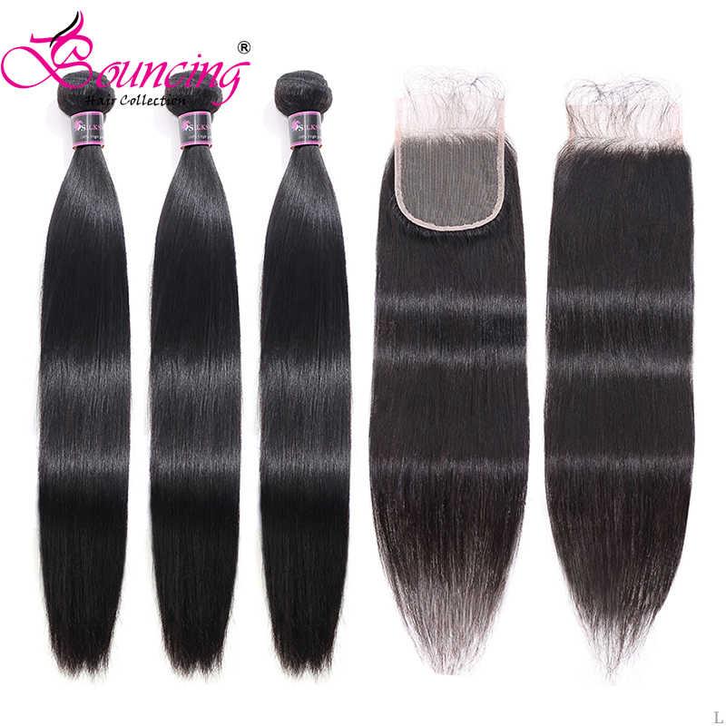Волнистые человеческие волосы, бразильские волосы, прямые волосы, пряди с закрытием, натуральный цвет, волосы Remy, плетение, 3 пряди, с кружевной застежкой