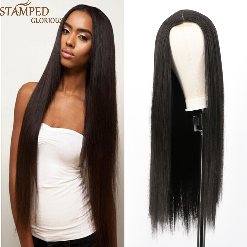 Stamped Glorious 30inches Middle Part Long Straight Black Wig Synthetic Wigs For Black Women Nature Lace Wig