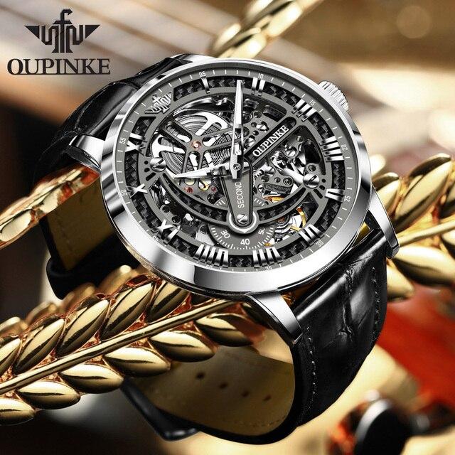 OUPINKE Swiss Tourbillon Skeleton Mechanical Watch 2
