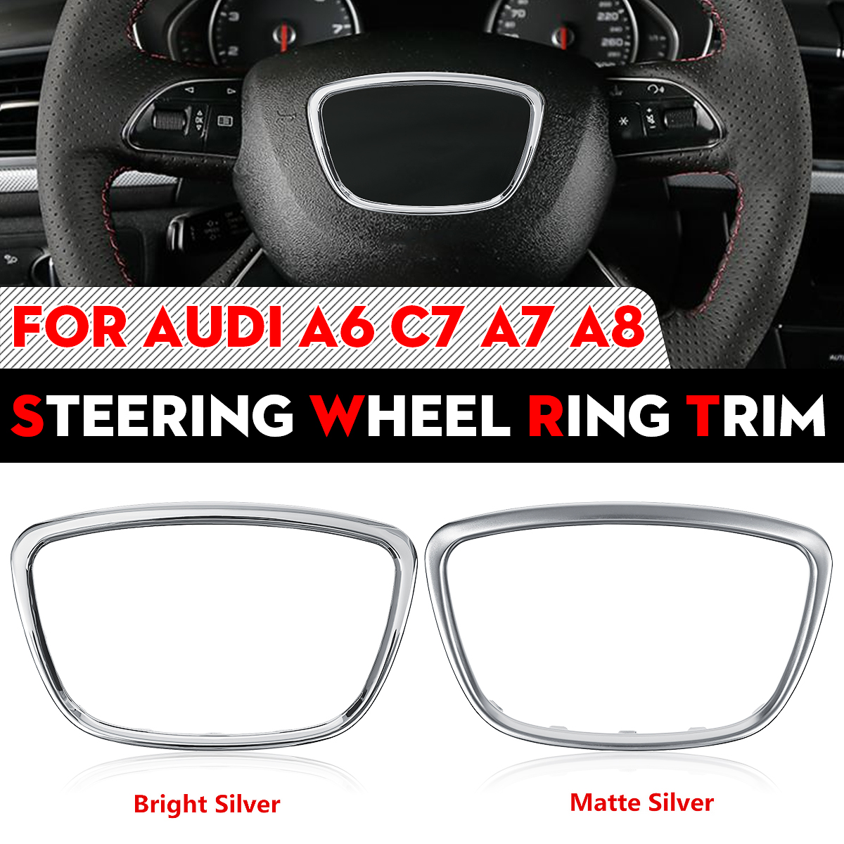 ABS Chrome Steering Wheel Decoration Sticker Trim Sequins Cover Cap Ring For Audi A6 C6 C7 A7 A8 2009 2010 2011 2012 2013 - 2017 image