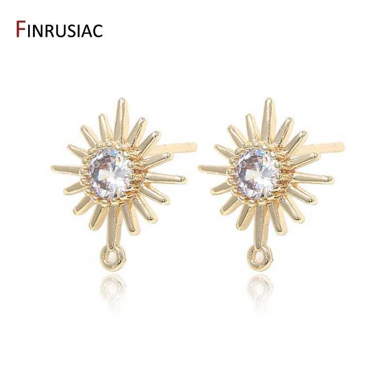 post earring Earrings accessories heart shape ear stud Brass earring finding,Connector Earrings Charm 6 pieces gold plated zircon stud