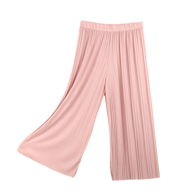 2019 Women\'s Casual Loose   Wide     Leg     Pants   Pleated Ankle-Length Ladies   Pants   Summer Solid Color High Waist Capris