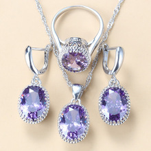 Silver 925 Wedding-Engagement Jewelry Sets AAA+ Quality Natural Crystal Bridal Costume 3-Piece Sets For Women 8-Colors Jewelry