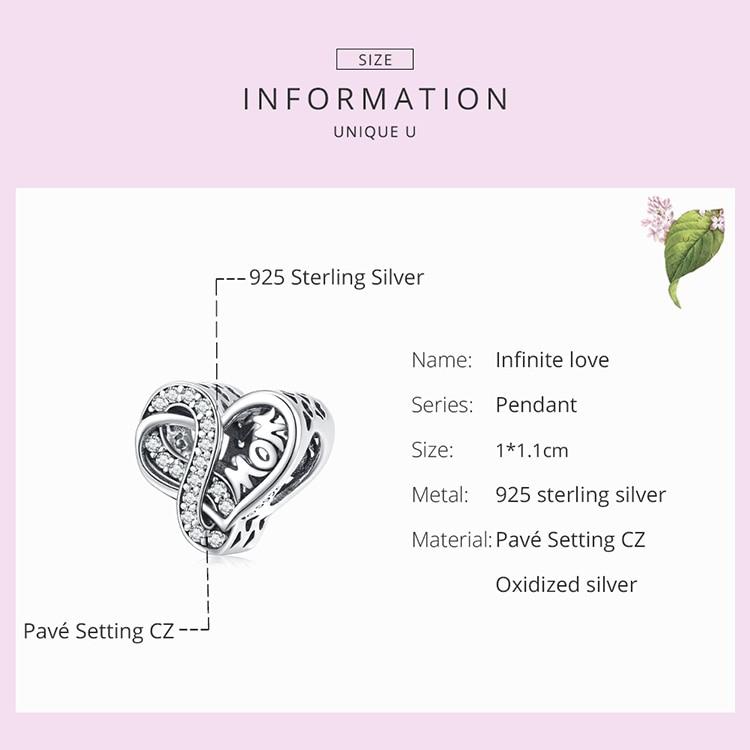 silver 925 Sterling Silver Infinite Love Charm Mom Blue Glass Bead Rose Cross for Original Bracelet Bangle Women Fashion Jewelry