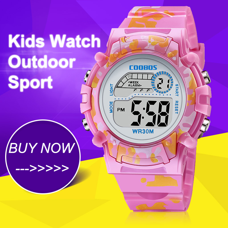 Pink Colorful Kids Watches New Digital Waterproof Luminous Watch For Boys Girls Sports LED Alarm Bubber Children Wristwatch 2019
