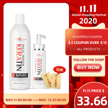 11.11 Without Formalin 1000ml Keratin Hair Repair Treatment Hair Care +300ml Purifying Shampoo Get Free Gifts