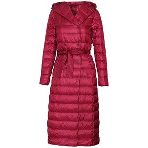 Image 5 - Fitaylor abrigo largo ultraligero de invierno para mujer, Abrigo largo con plumón de pato y una botonadura de talla grande, prendas de vestir cálidas para nieve, Parkas entalladas con capucha