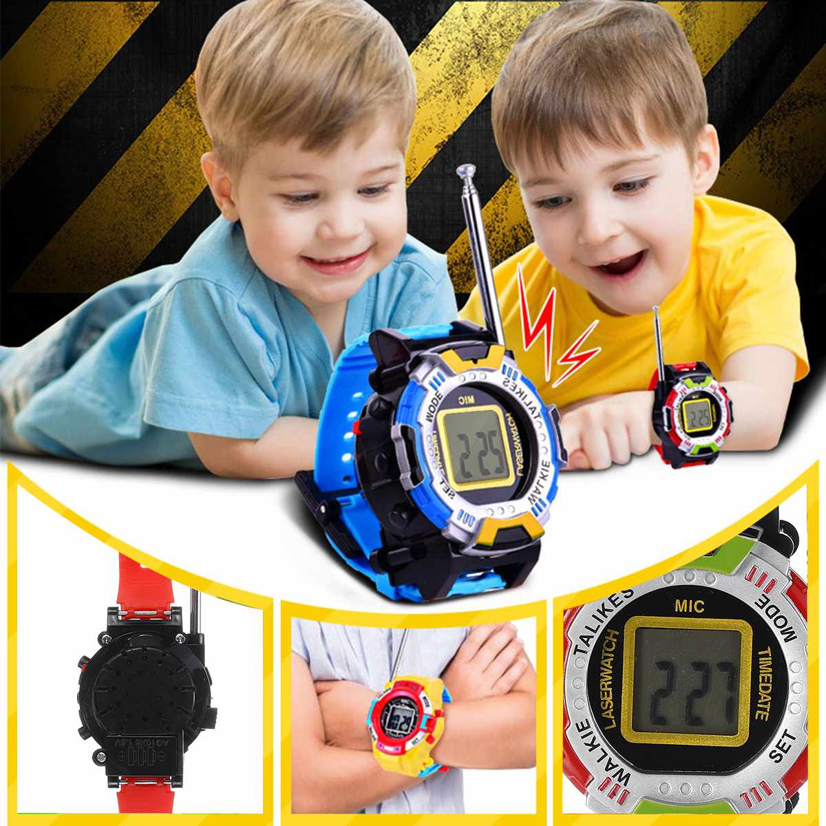 2PCS Walkie Talkie Children Kids Toy Walkie Talkie Family Outdoor Wrist Watch Battery Powered Long Ranges Interactive Smart