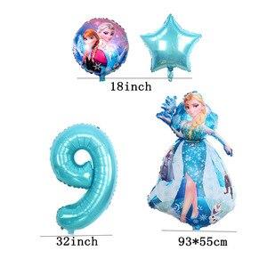 Image 2 - 6 stuks Verjaardag Elsa Anna Prinses Ballonnen Verjaardagsfeestje Decoratie 32 Inch Nummer blauw Ballonnen Set Hoge Kwaliteit