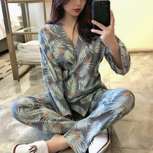Leaves Print Womens Kimono Pajamas Sets Lace Up Long Sleeve