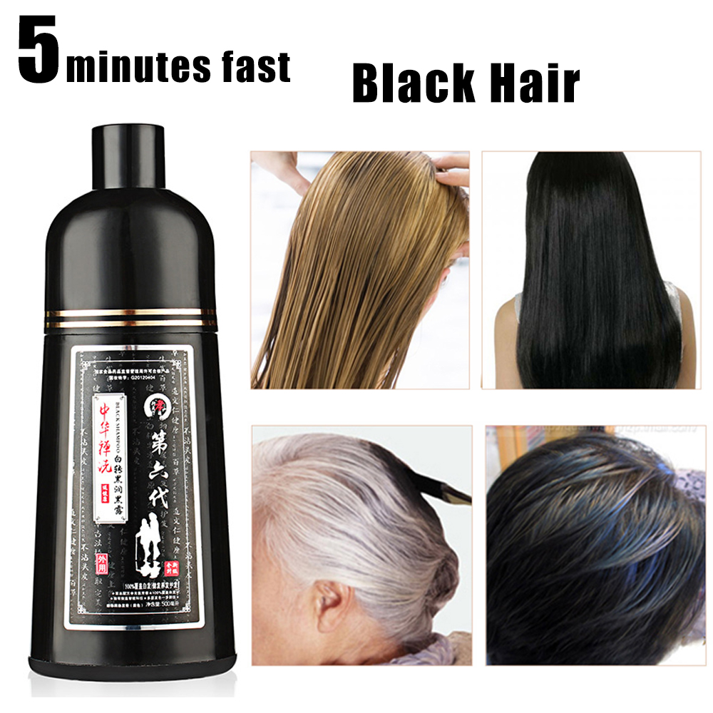 1 шт. 500 мл 5 минут быстрая натуральных волос окрашивающий шампунь для органические постоянные серого цвета с белыми волосами и черных волос ...