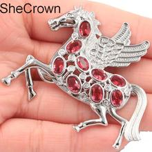 56x45mm  Big Pegasus Shape Pink Raspberry Rhodolite Garnet CZ Tourmaline Silver Brooch