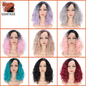 Image 2 - Zarif MUSES 14 inç sentetik Ombre mor mavi peruk kısa su dalga peruk doğal siyah saç peruk kadın isıya dayanıklı
