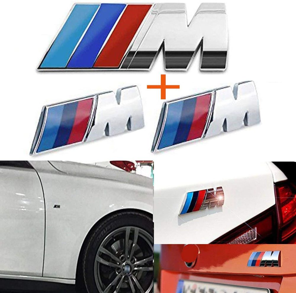 M Silver 3pcs Tri Color Fender Side  Rear Trunk Emblems Logo Decal Badge Sticker for All BMW