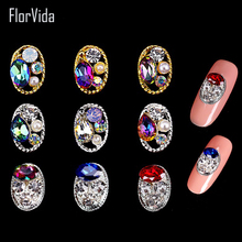 FlorVida 10 Styles Rhinestones Nail Art 3D Decoration With Gold Silver Bottom Strass Colorful Rhinestone Pearl