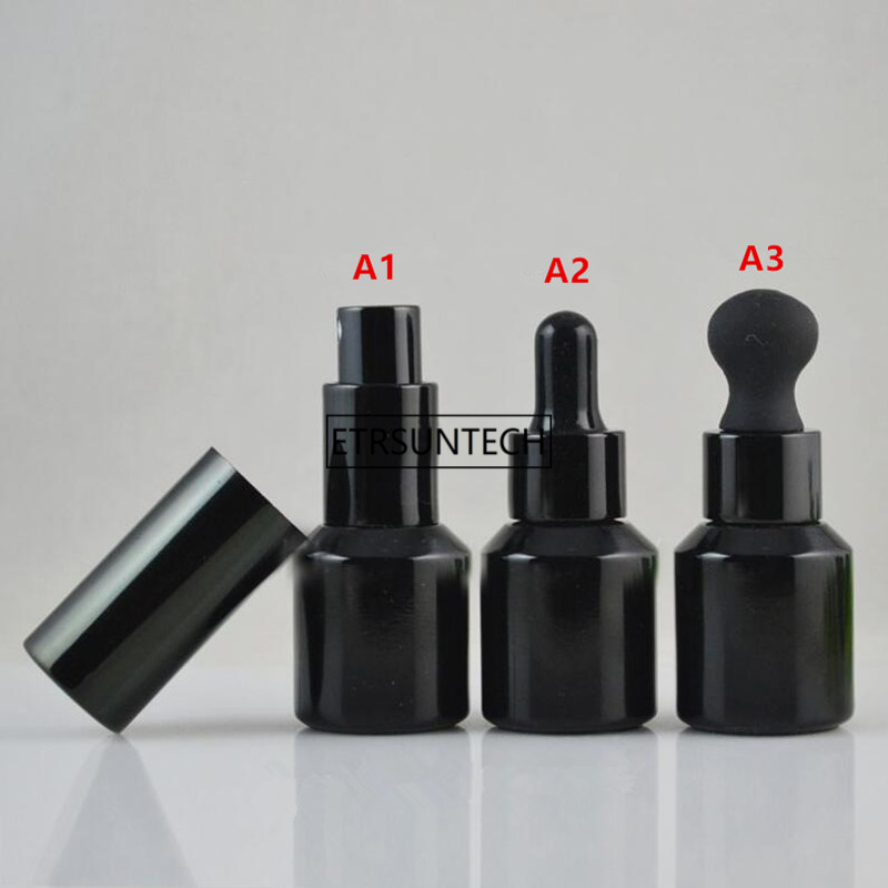 50pcs 15ML Black Glass Spray Botle Empty Lotion Refillable Bottle Cosmetic Essential Oil Container Dropper Bottle F3447