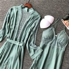 Шелковые пижамные комплекты из 2 предметов, пижамные платья, ночная рубашка с длинным рукавом, ночная рубашка с халатиком, Женская домашняя одежда, туника, одежда, комплект для сна