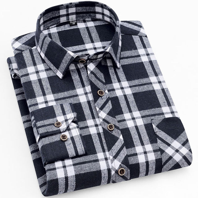 18 Colors 2019 Autumn Winter Warm Thick Mens Dress Shirt Casual Plaid Shirt Men  Brand Quality Cotton Social Business Shirt Men 29