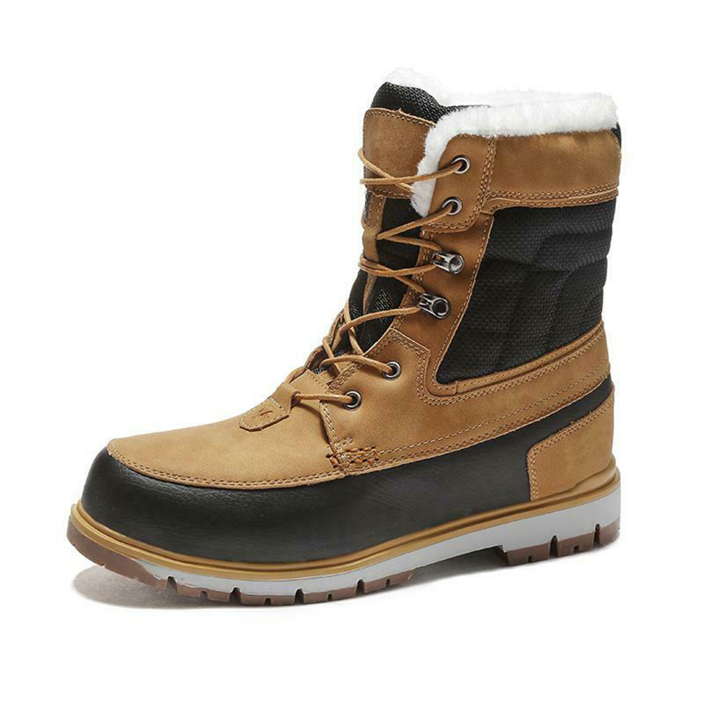 Winter Snow Boots for Men Waterproof Leather Boots Shoes Lace-up Wear-resistant Snow Shoes Best Sale-WT image