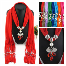 Fashion Polyester Pure Scarf of  Fast-selling Amazon Blossom Butterfly Pendant Lady pendant scarf