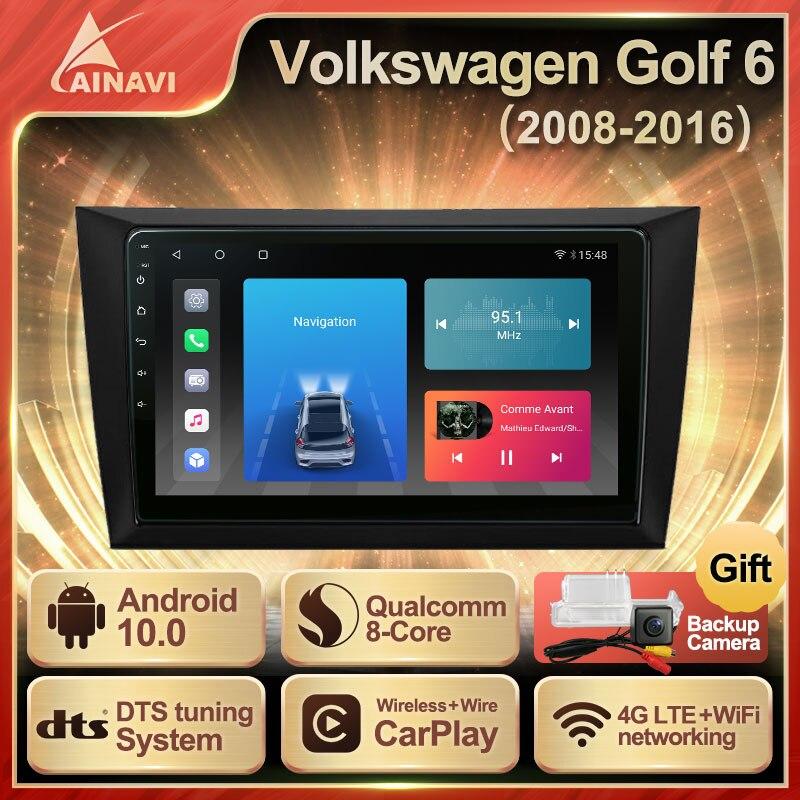 Автомобильный радиоприемник Android 10,0 QLED экран для Volkswagen VW Golf 6 2008-2016 автомобильный стерео Мультимедийный Плеер навигация Carplay No 2 din