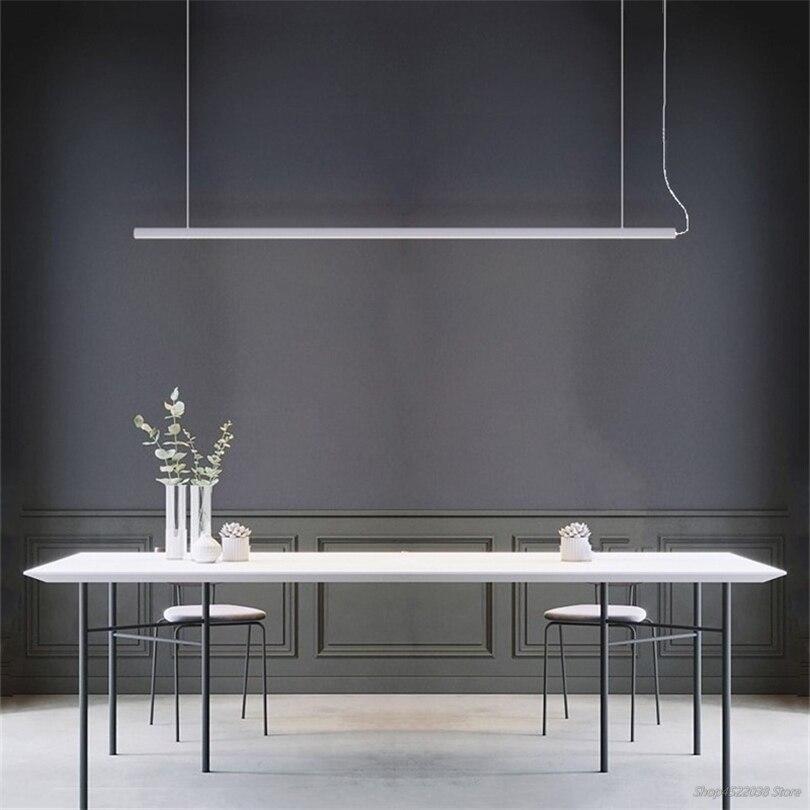Moderne Einfache Streifen Esszimmer Lichter LED Anhänger Lampe Goldene Luxus Designer Esstisch Hängen Lampen Büro Leuchte