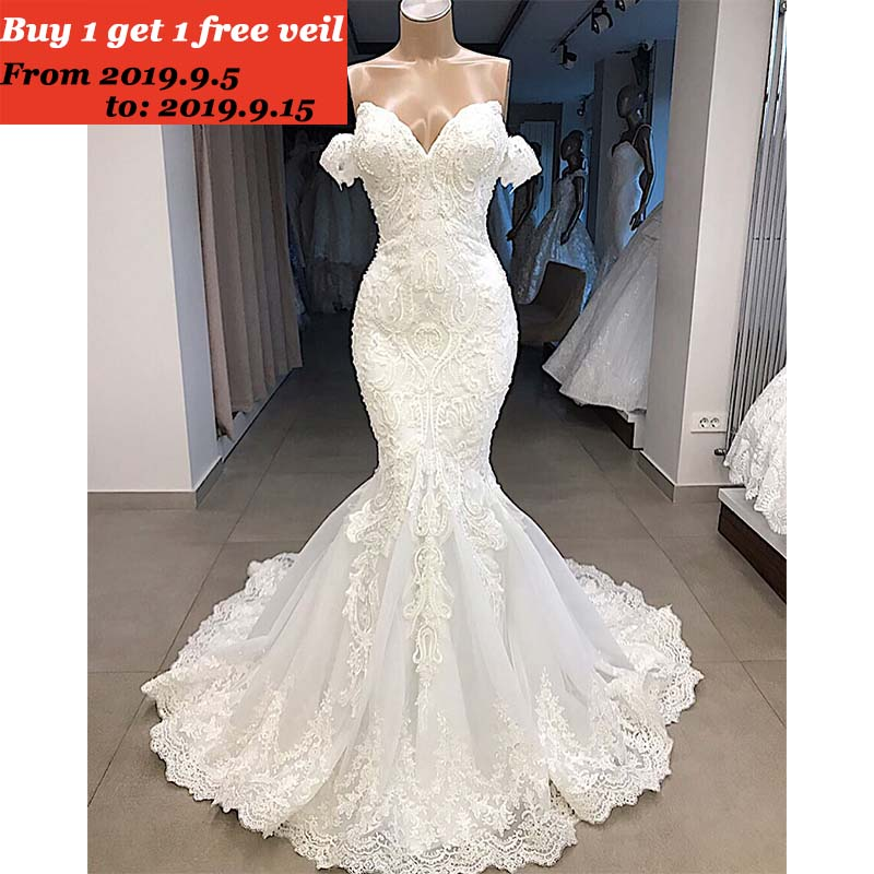 Wedding-Dress Sweep-Train Mermaid Off-Shoulder Luxury Lace Customized Backless Beaded