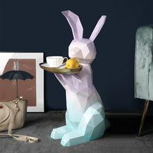 Nordic decoração de casa estatuetas decoração para casa estátua escultura piso ornamentos bandeja coelho escultura criativo sala estar escultura