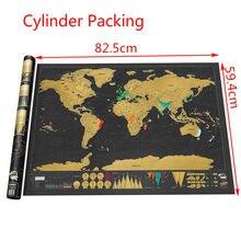 Tamanho grande personalizado do log do diário da folha de cobre do cartaz do mapa do curso do mundo de 82cm * 59cm com cilindro
