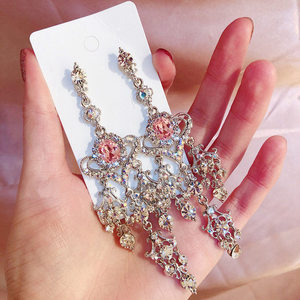 Korean Hot Sale New Trendy Luxury Shiny Heart Crystal Rhinestone Drop Earrings For Women Girl Elegant Exaggerated Party Jewelry