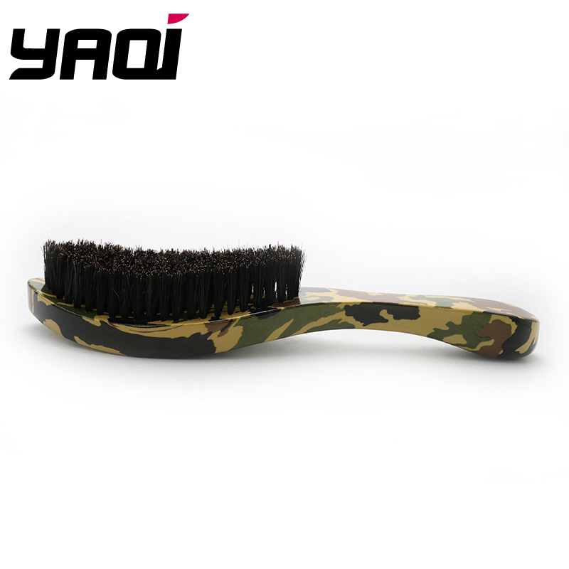 Natural Boar Bristle Camouflage Color Beech Wood Handle Mustache Beard Brush