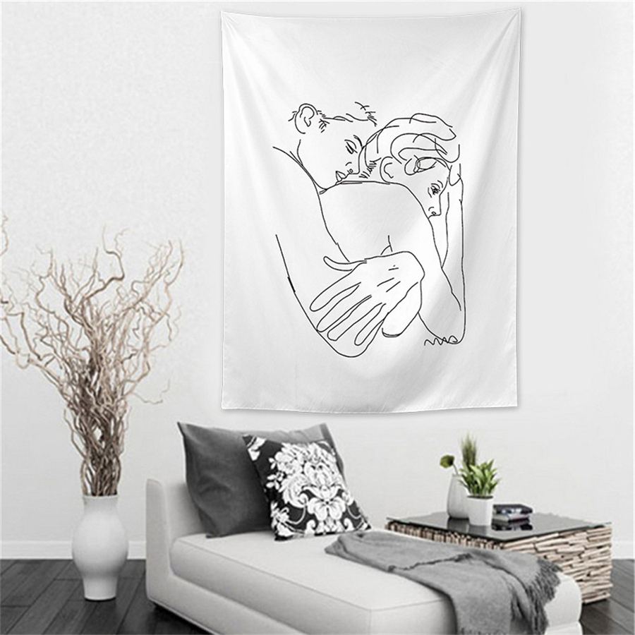 Line Draw Couple Tapestry Wall Fabric Women Kiss Love Hug Hippie Boho Picture Hanging Wall Tapestries Psychedelic Indian Mandala Wall Carpet Rug