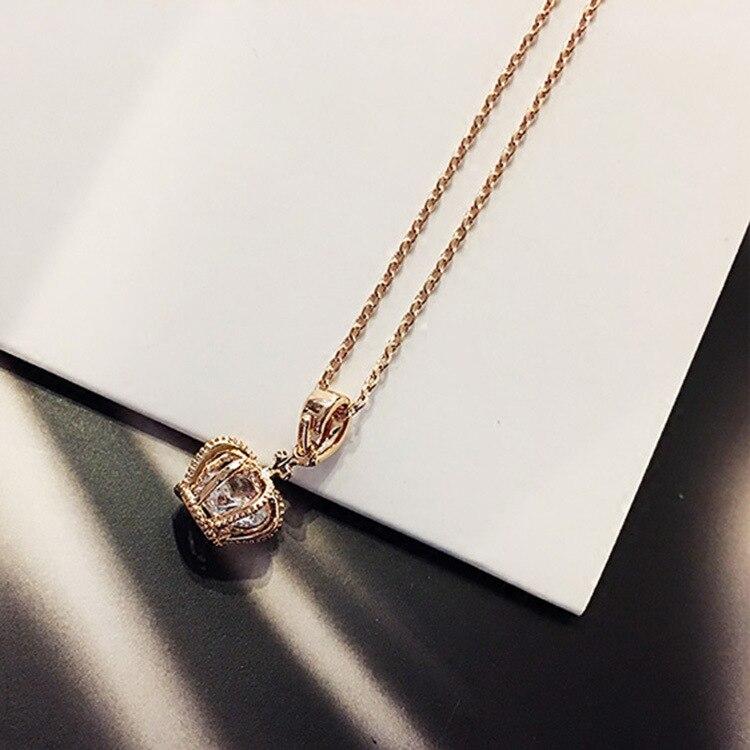 Necklace Women's Simple Crown Zircon Pendant Necklace Douyin Necklace Choker Accessories