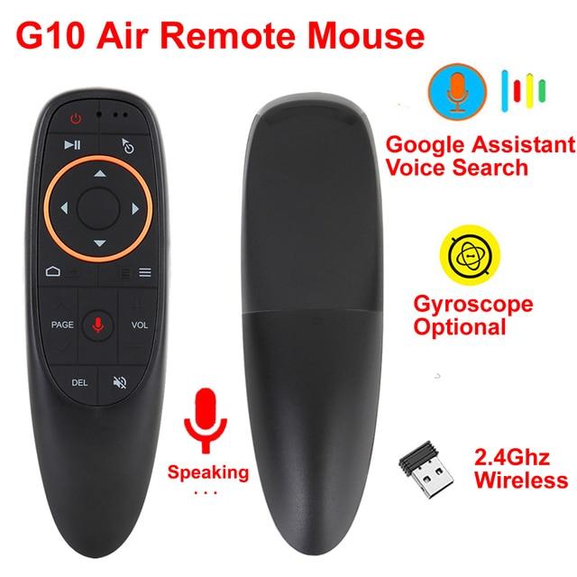 G10 에어 마우스 2.4GHz 무선 음성 원격 제어 IR 학습 6 축 자이로 스코프 지원 Google Assistant Voice Search For TV BOX