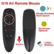 G10 rato de ar 2.4 ghz voz sem fio controle remoto ir aprendizagem 6 axis giroscópio apoio google assistente busca de voz para caixa de tv