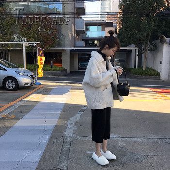 2019 Winter Lambswool Korean Loose Pure Color Women Coat Pocket Lapel Female Jacket