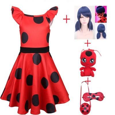 Ladybug Girl Dress Sub Anime Movie Costume Kids Doll Polka Dot Skirt Blue Wig Elegant Cosplay Party Halloween Carnival Costume