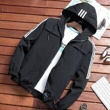 Autumn Men Jackets Hooded Casual Solid Striped Coats Male Hip Hop Streetwear Bas