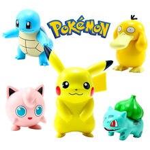 6 unids/set Pokemon juguetes Pikachu figuras de dibujos animados Pokémon Squirtle Charmander Psyduck Purin Anime modelo juguetes para niños de regalo