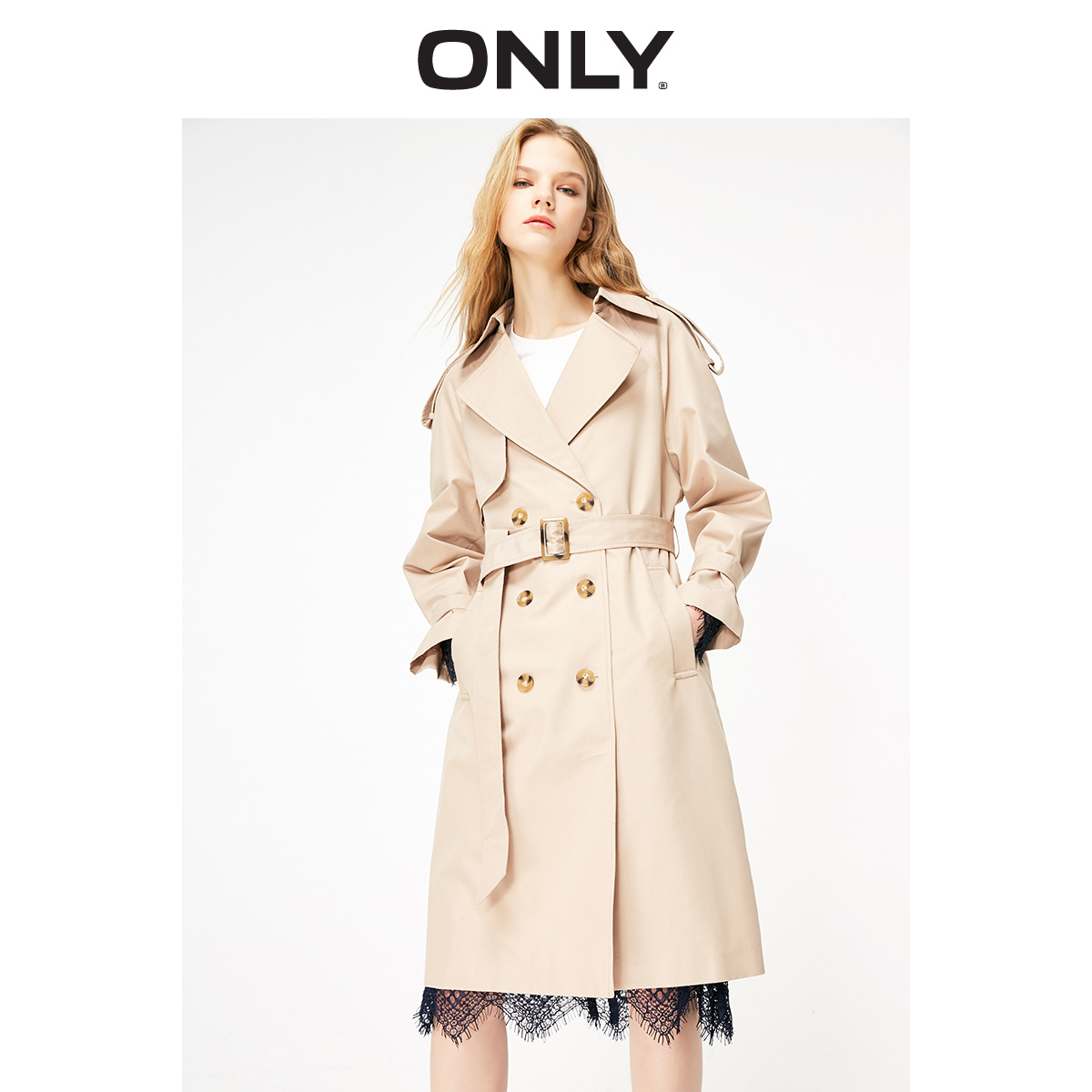 ONLY Women's Long Slim Fit Laced Cinched Waist Trench Coat | 119136523
