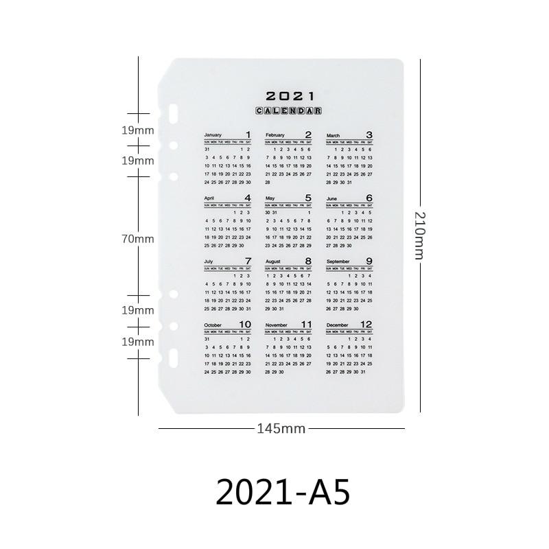 A5 A6 loose-leaf 2021 2020 calendar partition baffle PP transparent matte standard 6 holes thick 60 wire 6