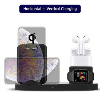 4 в 1 10 Вт Быстрое беспроводное зарядное устройство док-станция Быстрая зарядка для IPhone XR XS Max 8 для Apple Watch 2 3 4 USB выход для IPad