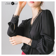 Silviye Black Sexy Lace splicing silk shirt women's long sleeve fashion women tops blusas mujer de moda 2020