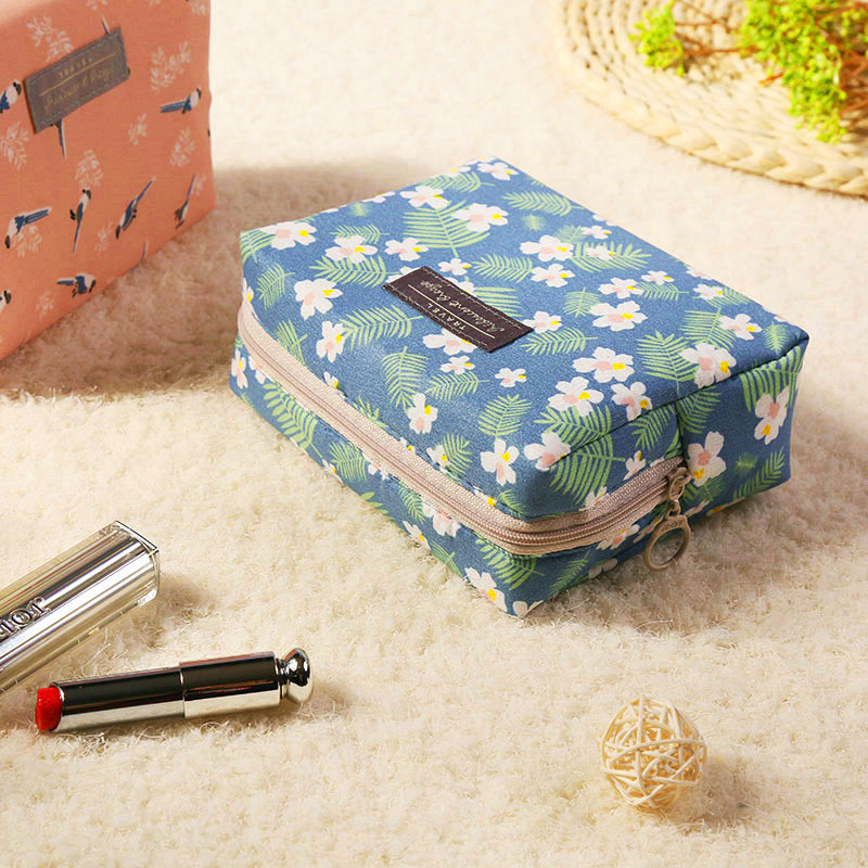 Fashion Portable Zipper Cosmetic Bag Solid Cotton Women Travel Wash Bag Organizer Waterproof Female Beauty Pouch Toiletry Bag