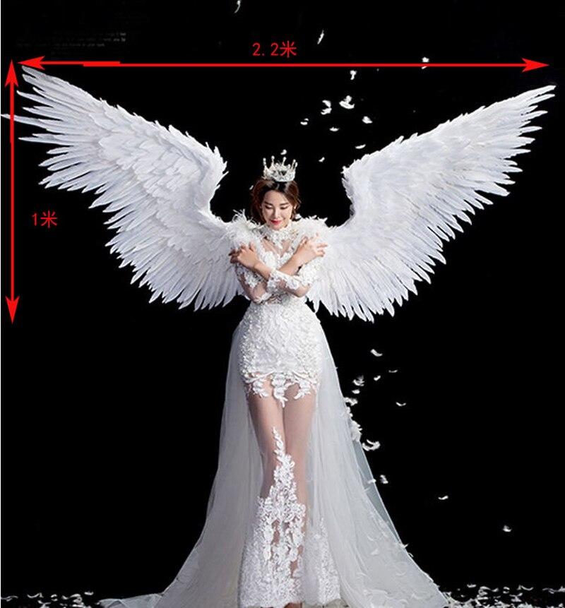 Cosplay Bianco Puro di angelo della piuma dell'ala della piuma per adulti modello della pista biancheria intima mostra oggetti di scena di ripresa festival ali del partito Di nozze Di Natale - 5