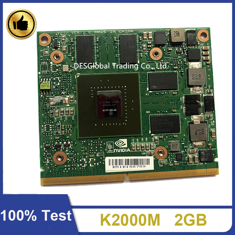 Original K2000M K 2000M Graphic Video VGA Card N14P-Q3-A2 2GB For Dell Precision M4700 M4800 HP 8560W CN-0D30WG 100% Test